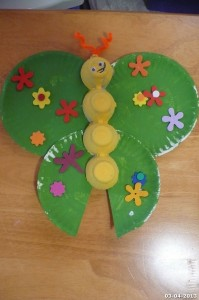 paper plate and egg carton butterfly