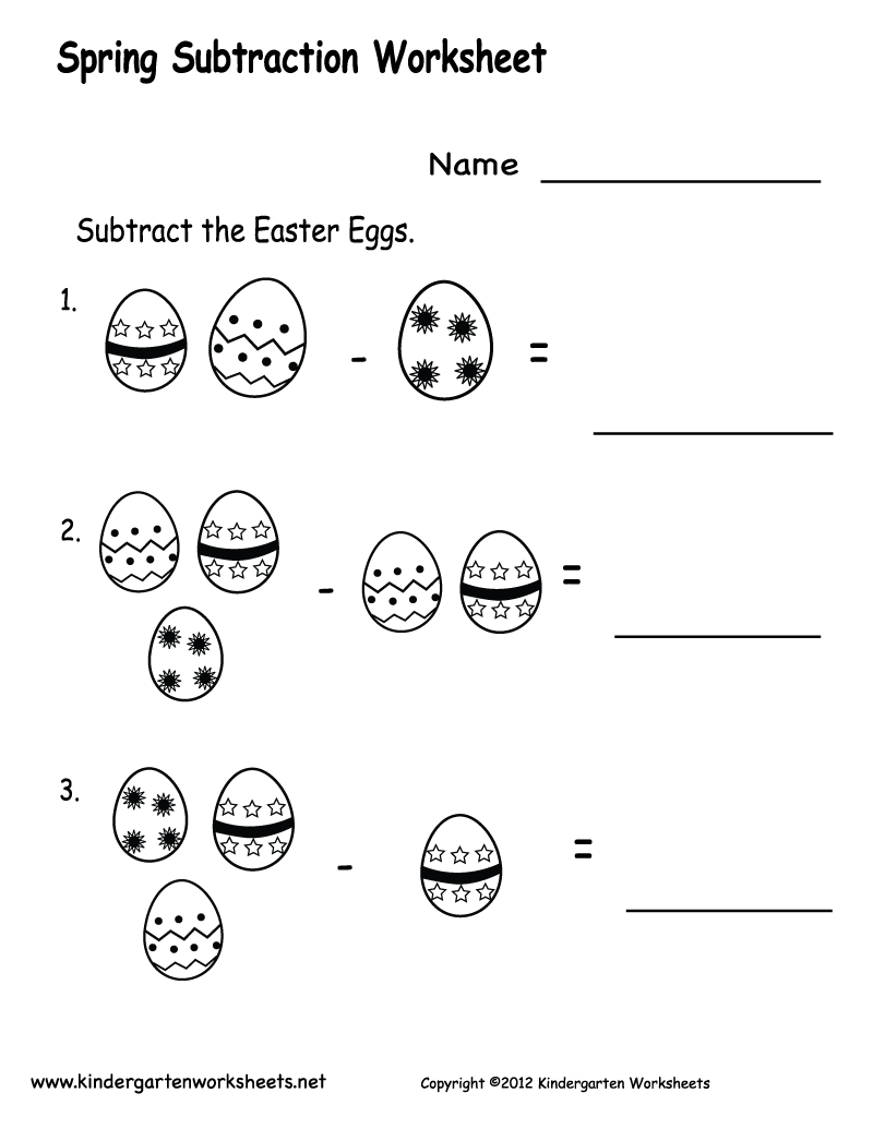 Simple Subtraction Worksheets For Kindergarten Davezan – Printable Math Worksheets for Kindergarten Addition and Subtraction