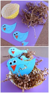 Blue Bird Craft with Cupcake Liner Nests