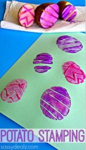 Easter Egg Potato Stamping Craft for Kids