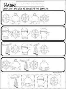 Free winter cut and paste pattern practice.