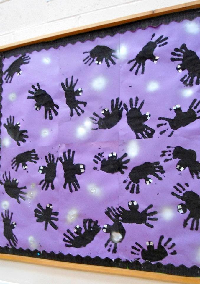 Handprint Spiders Bulletin Board Idea