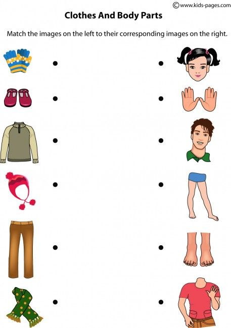 Kids Pages – Body Parts And Clothes