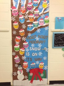 Owl Christmas Holiday Classroom Door