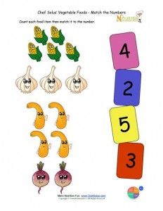 Preschool Matching Foods and Numbers Activity