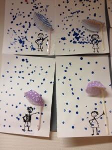 Rain and umbrella made with cupcake holder