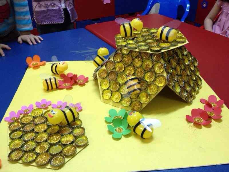 bottle cap bee bulletin board