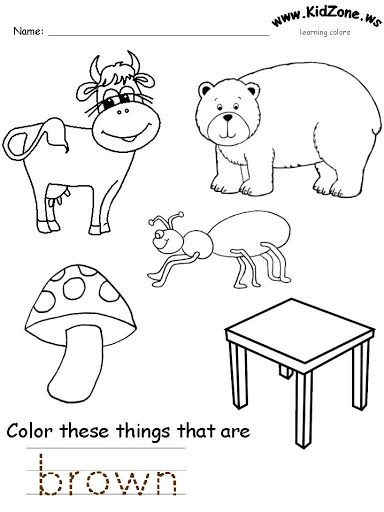 brown color worksheet