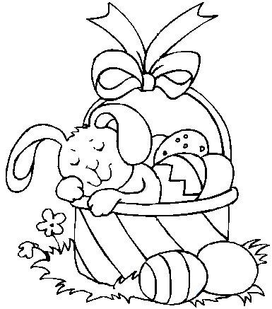 bunny basket coloring