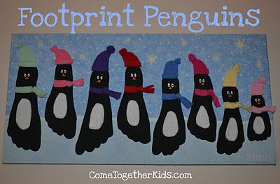 footprint penguin bulletin board
