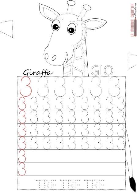 giraffe number 3 trace woksheet