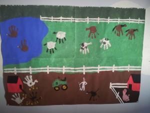 hand and footprint farm animal bulletin board
