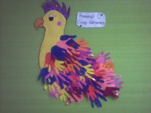 handprint parrot bulletin board