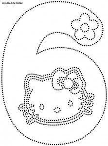 hello kitty number 6 trace worksheet
