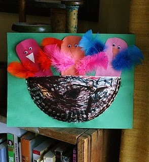paper plate bird nest
