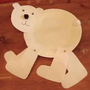 paper plate polar bear craft idea