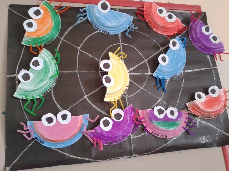 paper plate spider bulletin board