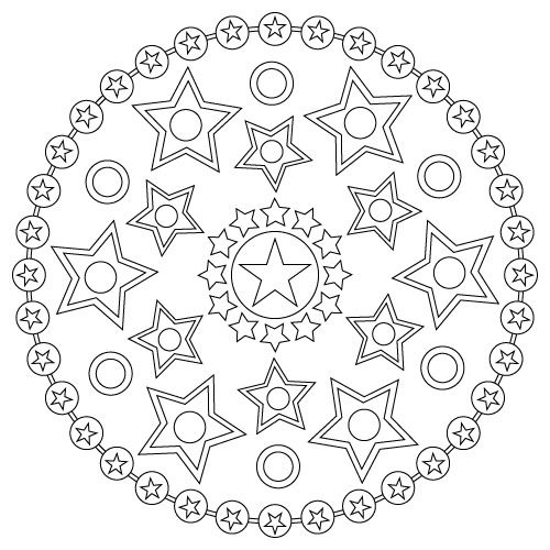 printable star mandala coloring