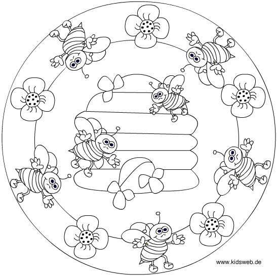 Spring Bee Mandala Coloring Crafts And Worksheets For Preschool