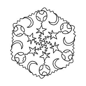 star and moon mandala coloring