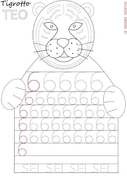 tiger number 6 trace worksheet