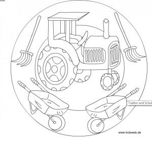 tractor mandala coloring