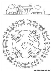 train mandala coloring page