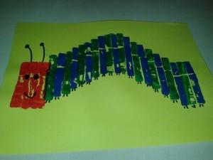 clothes pin stamp caterpillar