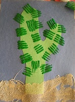 fork stamp cactus craft
