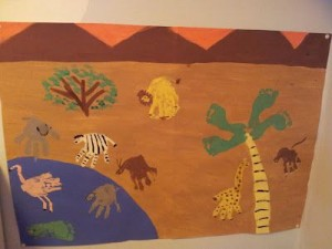 handprint and footprint african animals