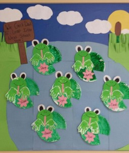 handprint frogs bulletin board