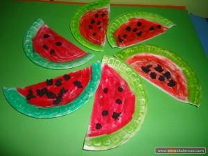 paper plate watermelon craft