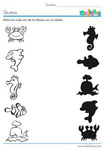 sea animal shadow worksheet