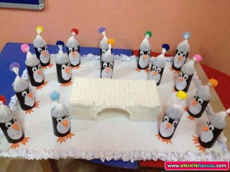 toilet paper roll penguin bulletin board