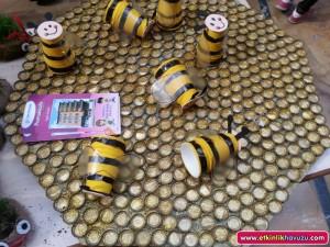 bottle cap bee craft