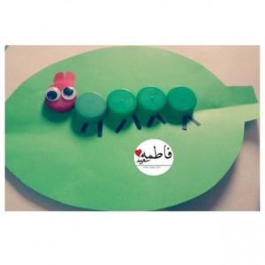 bottle cap caterpillar craft