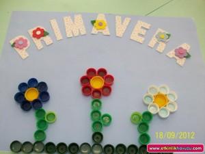 bottle cap flower craft idea for kids