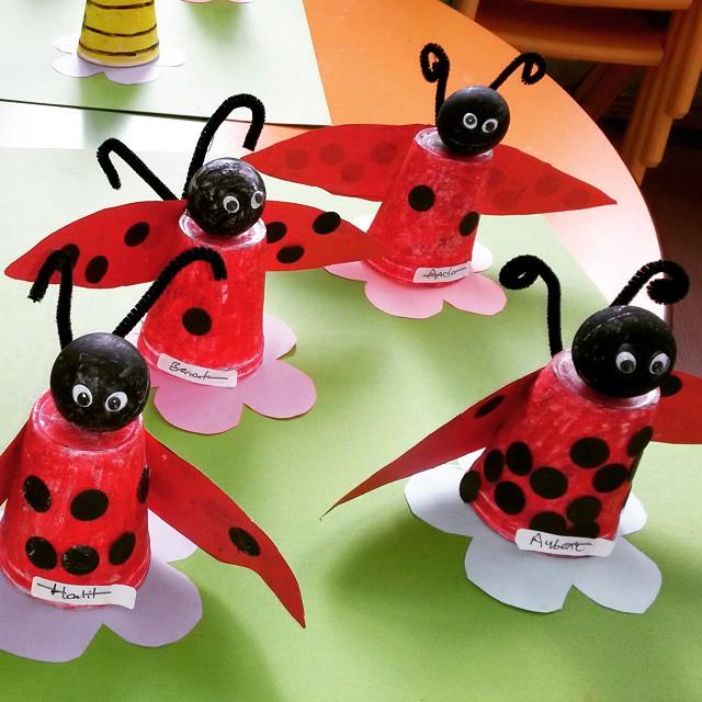 paper cup ladybug craft idea