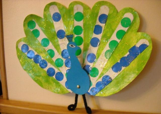 popsicle peacock craft