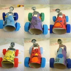 toielt paper roll race car