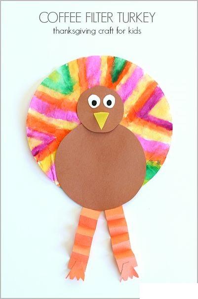 Coffee Filter Turkey Thanksgiving Craft idea for kids