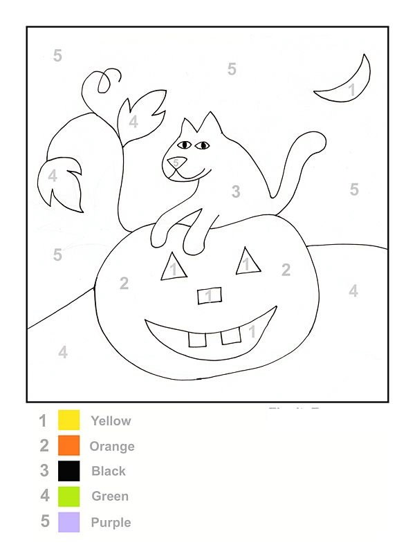 color by number halloween worksheet
