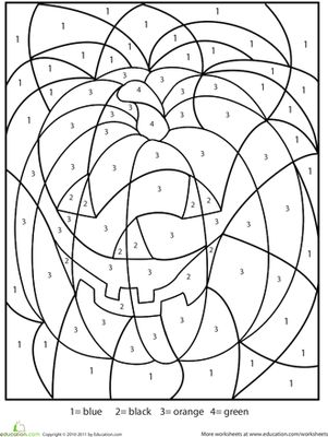 color by number pumpkin worksheet