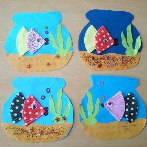 cupcake liner fish bulletin board