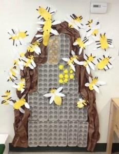 egg carton bee bulletin board
