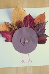 leaf turkey craft idea for kids