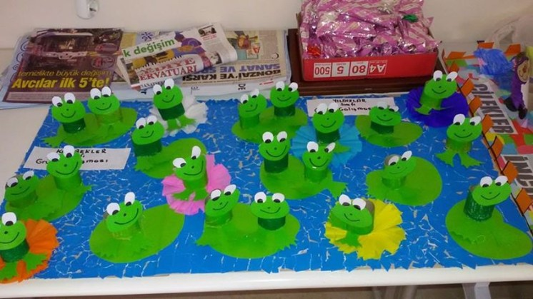 paper cup frog craft idea