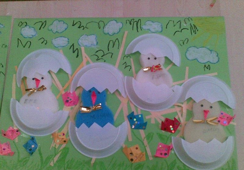 paper plate and sponge chick craft