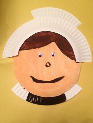 Paper Plate Pilgrim Lady Craft