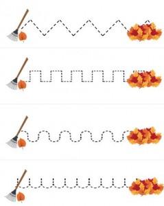 autumn trace line worksheet for kids